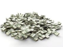 Pile of 100 dollar bill wads Royalty Free Stock Photos