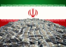Pile of 100 Dollar bills in front of the Iran Flag. 3D rendering royalty free stock photos