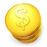 Pile of dollar coins. Pile of symbolic golden dollar coins Royalty Free Stock Photography