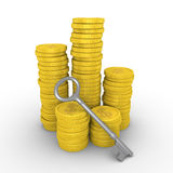 Pile of dollar coins and key Royalty Free Stock Photo