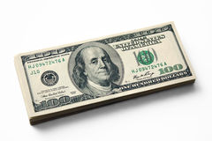 Pile of dollars. Pile of 100 dollar denominations Royalty Free Stock Photo