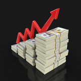 Pile of Dollars and arrow Stock Photos