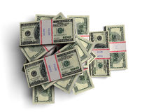 Pile of dollars. In the bank packages vector illustration