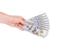 Pile of dollars banknotes in hand. Stock Image