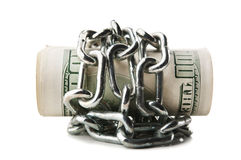 Pile of dollars in chains Stock Images