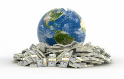 Pile of Dollars and globe (clipping path included) Royalty Free Stock Photography