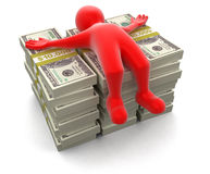 Pile of Dollars and man (clipping path included) Royalty Free Stock Photography