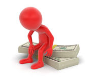 Pile of Dollars and man (clipping path included) Stock Photo