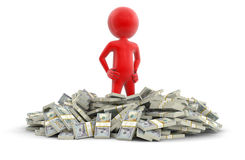 Pile of Dollars and man (clipping path included) Stock Photography