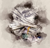 Pile of dollars royalty free illustration