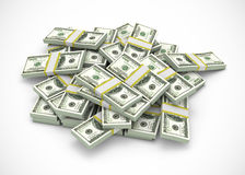 Pile of dollars. On white background vector illustration