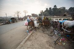 Pile of domestic garbage in carts, bicycles,  in Kathmandu, Nepal. Royalty Free Stock Photos