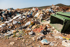 Pile of domestic garbage in landfill Stock Images