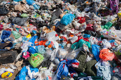 Pile of domestic garbage in landfill royalty free stock photos