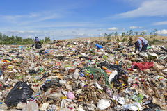 Pile of domestic garbage in Thailand. Stock Photos