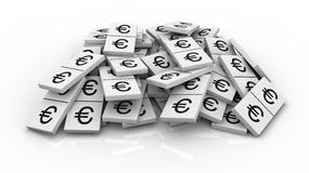 Pile of domino pieces. One pile of domino pieces with the euro currency symbol instead of numbers (3d render Royalty Free Stock Photography