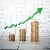 Pile dorate della moneta e un grafico Fotografie Stock
