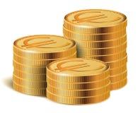 Pile dorate delle monete, illustrazione di vettore Fotografia Stock