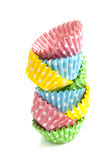 Pile dotted cupcakes Royalty Free Stock Image
