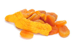 Dried apricots and peaches Stock Images