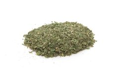 Pile of dried basil spice isolated Stock Image