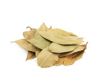 Pile of dried bay leaves isolated Stock Photo