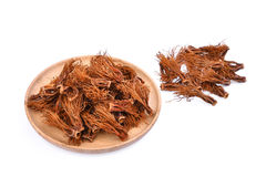Pile of dried bombax ceiba in wooden plate , asia herbs Royalty Free Stock Photo