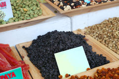 A pile of dried cherries. Pieces at outdoor market, room for text Royalty Free Stock Photo