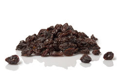 Pile of  Dried Cherries. A pile of dried cherries on white with reflection Royalty Free Stock Photo