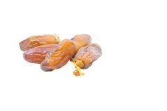 Pile of dried date fruits isolated on white background. Stock Image