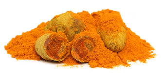 Pile of dried and ground turmeric Royalty Free Stock Photo