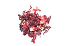Pile of dried pomegranate flower tea. Isolated on white background selective focus Stock Image