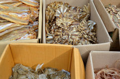 Pile of dried seafood in packed paper box Stock Photos