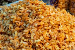 Pile of dried shrimp. Close up of dried shrimp Royalty Free Stock Image