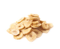 Pile of dried sliced banana snack isolated Stock Photography