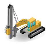 Pile driver isolated on white. EPS 10 opacity. Royalty Free Stock Image