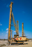 Pile driving machine in construction site Stock Photo