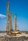 Pile driving machine in construction site Royalty Free Stock Image