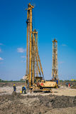 Pile driving machine in construction site Royalty Free Stock Photography