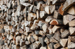 Pile of dry firewood. Pile of chopped dry firewood royalty free stock photography