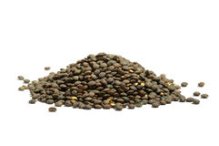 Pile of dry  french green puy lentils, isolated Stock Photography