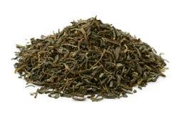 Pile of dry green tea leaves Stock Photo