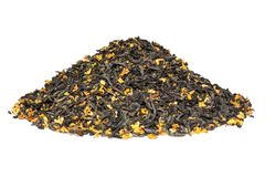 Pile of dry green tea with osmanthus isolated on white background stock photos