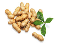 Pile of dry roasted peanuts  on white background. Stock Images