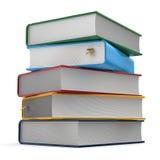 Pile du calibre différent de couvertures de livres cinq colorés illustration stock