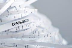 Pile du papier déchiqueté - confidentiel Photos stock