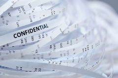 Pile du papier déchiqueté - confidentiel Photo libre de droits
