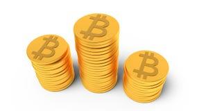 Pile du rendu des bitcoins 3d Photo libre de droits