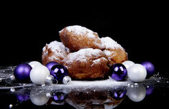 Pile of Dutch donut also known as oliebollen, traditional New Ye Stock Photos