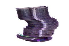 Discs pile. A pile of dvd discs isolated on white Royalty Free Stock Photos